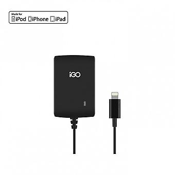 iGO travel charger 2,4A (EU/UK / US) with lightning cable of 120 cm black for iPhone 5 / 5 S 6 6 + iPad4 iPod touch