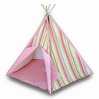 Children`s Canvas Teepee Tent Pink and Yellow Stripes 72 In.