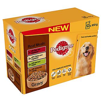 Pedigree Pouch Gravy Real Meals 12x100g (Pack of 4)