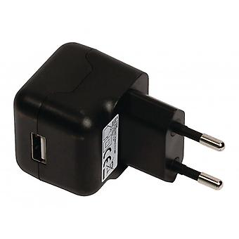 ValueLine AC charger with USB connector, USB A female-AC-contact for home, black