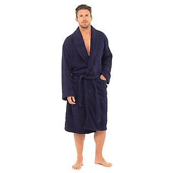 Mens Tom Franks Classic Cotton Supersoft Fleece Navy Bathrobe Dressing Gown