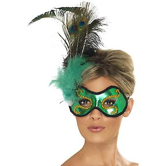 Emerald Peacock eye mask with side feather trim