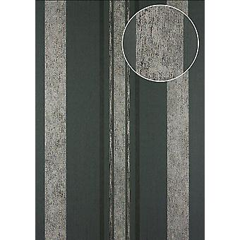 Stripes Atlas 24C-5059-1 non-woven wallpaper silver smooth with graphic patterns, and metallic accents grey graphite grey black 7,035 m2