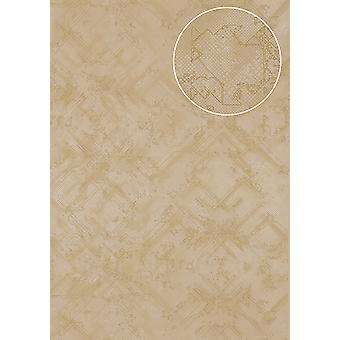 Graphic wallpaper Atlas SIG-580-3 non-woven wallpaper textured with abstract pattern shimmering beige bright ivory grey beige 5.33 m2