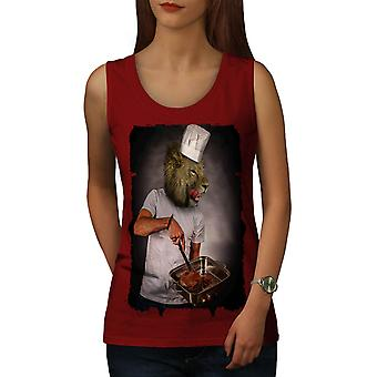 Lion Chef Kitchen Funny Women Red Tank Top | Wellcoda