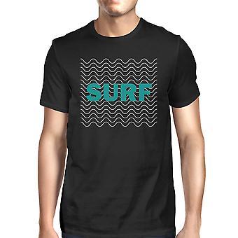 Surf golven Mens Black grafische Short Sleeve T-Shirt koele zomer Top