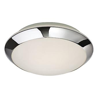 Firstlight Modern Chrome Flush Opal Glass Ceiling Light