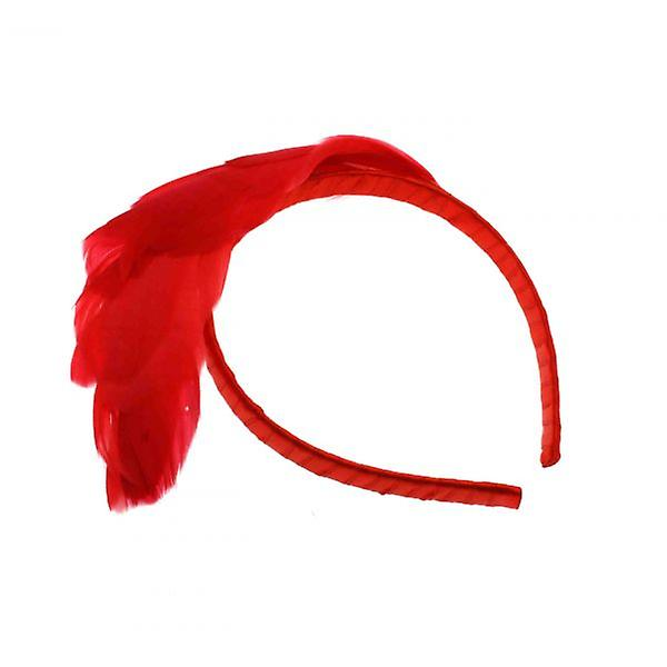 W.A.T Red Feathered Satin Covered Hair Band
