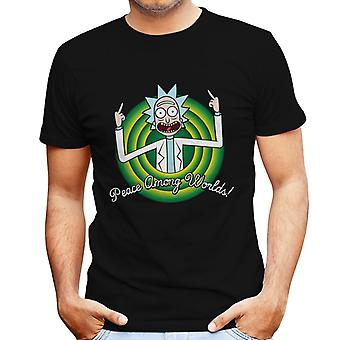 Peace Amongst Worlds Rick And Morty Looney Tunes Men's T-Shirt