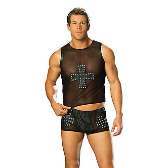 Elegant Moments EM-L9285 Leather and mesh shorts with cross and nail head detail