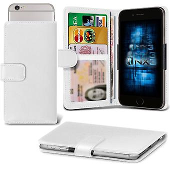 ONX3 Lenovo Lemon 3 Leather Universal Spring Clamp Wallet Case With Card Slot Holder and Banknotes Pocket-White