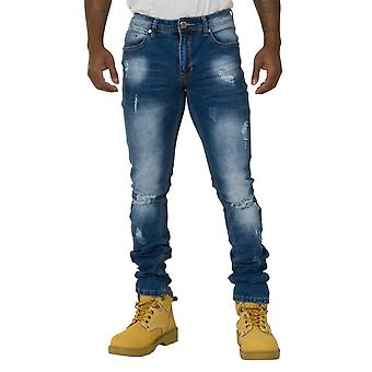 Men's Slim Fit Destroyed Denim Jeans Stonewash Denim with stretch
