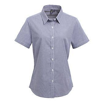 Premier Womens/Ladies Microcheck Short Sleeve Cotton Shirt