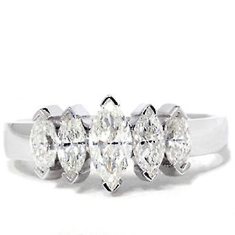 Aniversário de casamento de diamante 1 1 / 2ct Marquesa 14K