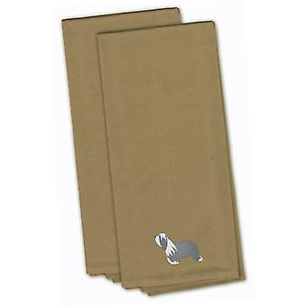 Bearded Collie Tan Embroidered Kitchen Towel Set of 2