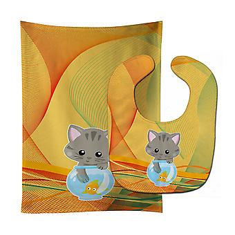 Carolines Treasures  BB6879STBU Kitten in the Fish Bowl Baby Bib & Burp Cloth