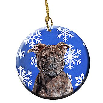 Staffordshire Bull Terrier Staffie Winter Snowflakes Ceramic Ornament