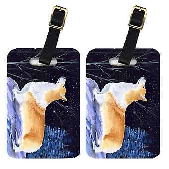 Carolines Treasures  SS8373BT Starry Night Corgi Luggage Tags Pair of 2