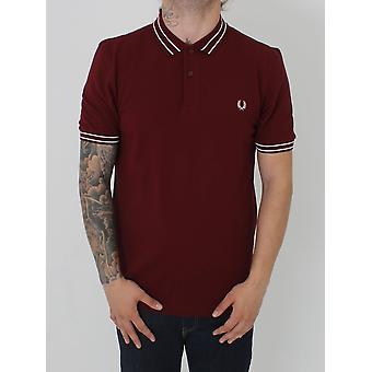 Fred Perry Tramline Tipped Pique Polo - Rosewood