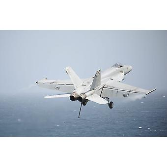 An FA-18E Super Hornet in flight over the Gulf of Oman Poster Print by Stocktrek Images