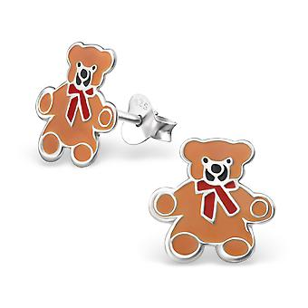 Bear - 925 Sterling Silver + Epoxy Colour Colourful Ear Studs