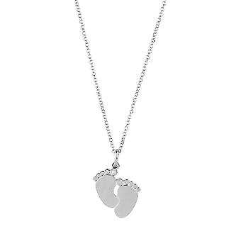 Sterling Silver Womens Chain Necklace with Little Baby Feet Pendant in Glittering Swarovski CZ Stone New Mother Parent Gift