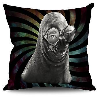 Seal Glasses Beast Animal Linen Cushion Seal Glasses Beast Animal | Wellcoda