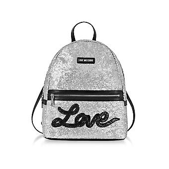 Love Moschino ladies JC4102PP15LR0902 silver leather backpack