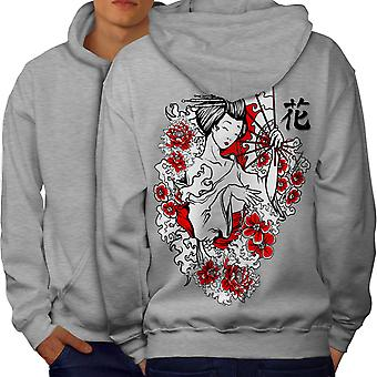 Girl Flower Power Men GreyHoodie Back | Wellcoda