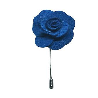 Royal Blue Handmade Flower/Rose Lapel Pin for wearing with men's suit jacket, blazer, dinner jacket or tuxedo jacket