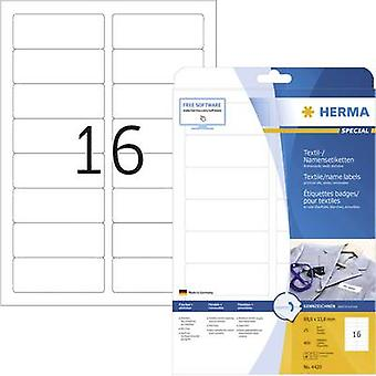 Herma 4420 Labels (A4) 88.9 x 33.8 mm Acetate silk White 400 pc(s) Removable Name stickers, Fabric labels