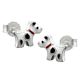 Earring studs dog with dots silver 925