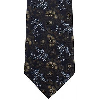 Michelsons of London Natural Floral Polyester Tie - Brown