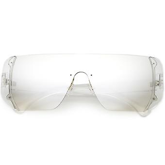 Oversize Rimless Shield Sunglasses Flat Top Mono Block Lens 62mm