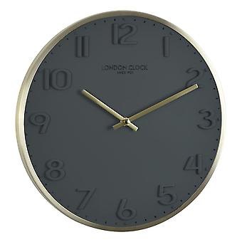 London Clock 1922 30cm Oslo Elvie Brushed Gold Metal Case Wall Clock