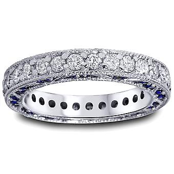 2ct Blue Sapphire & Diamond Vintage Eternity Ring 14K White Gold