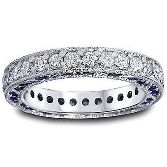 2ct blå safir & Diamond Vintage evighet Ring 14K vitt guld