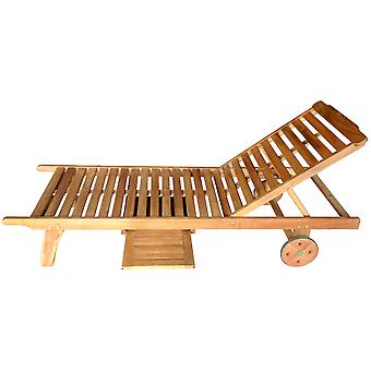 Charles Bentley FSC Acacia Garden Patio Wooden Sun Lounger - 3 Reclining Levels - Oil Coated Natural Finish