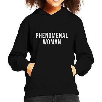 Phenomenal Woman White Slogan Kid's Hooded Sweatshirt