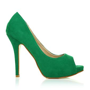 TIA Green Faux Suede Stiletto High Heel Platform Peep Toe Shoes