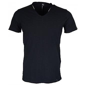 Replay V Neck Sleeve Logo Black T-shirt