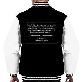 PG Wodehouse das Glück die Bodkins Öffnung Linien Männer Varsity Jacket