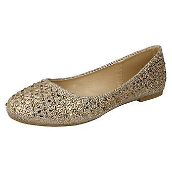 Ladies Spot On Jewelled Ballerinas F80387 - Rose Gold Glitter - UK Size 6 - EU Size 39 - US Size 8