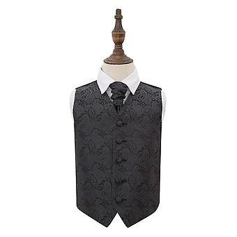 Charcoal Grey Paisley Wedding Waistcoat & Cravat Set for Boys