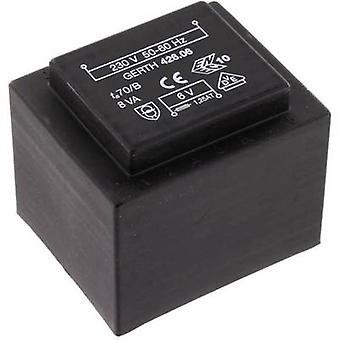 PCB mount transformer 1 x 230 V 1 x 6 V AC 8 VA 1333 mA