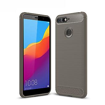 Huawei Y6 2018 cover silicone grey carbon look case TPU mobile cover of bumper 211798