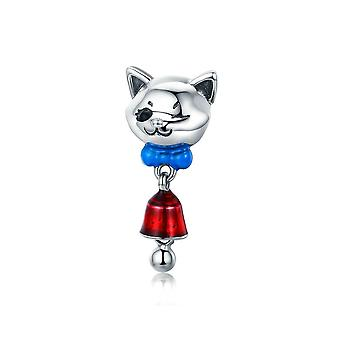 Sterling silver pendant charm Cat with bell