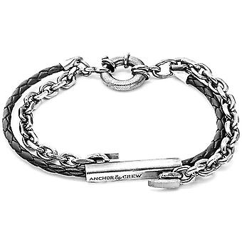 Anchor and Crew Belfast Silver and Leather Bracelet - Coal Black