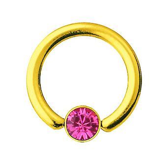 Smiley-Piercing BCR Gold vergoldet Titan 1,2 mm, SWAROVSKI Elemente rosa | 6-10 mm