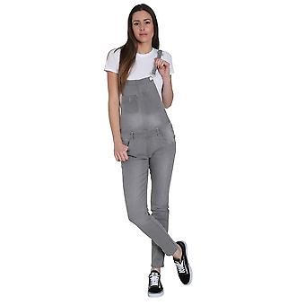 Faded Grey Denim Skinny Fit Dungarees Ladies Bib Overalls Narrow Leg